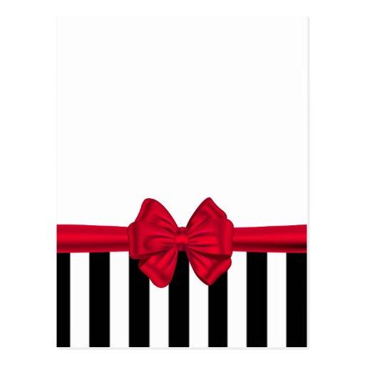 Rayas negras rojas de moda elegantes del arco blan postal