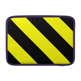 Rayas negras y amarillas del peluquero funda para macbook air