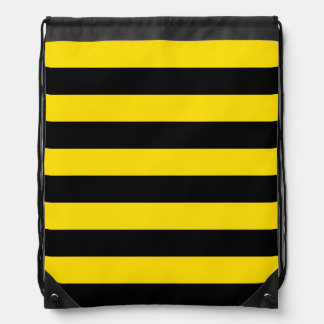 Rayas - negras y amarillo de oro mochila
