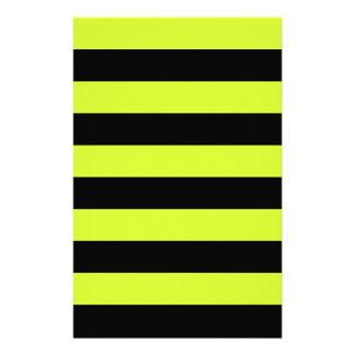 Rayas - negras y amarillo fluorescente personalized stationery