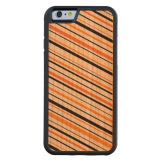 Rayas negras y anaranjadas retras funda de iPhone 6 bumper cerezo