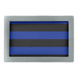 Rayas - negras y azul imperial hebilla de cinturón rectangular