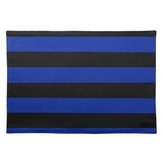 Rayas - negras y azul imperial manteles individuales