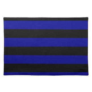 Rayas - negras y azul marino mantel individual