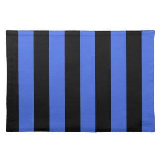 Rayas - negras y azul real mantel individual