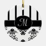 Rayas negras y blancas, Barroco del monograma Ornamentos Para Reyes Magos