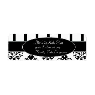 Rayas negras y blancas, Barroco del monograma Etiqueta De Remite