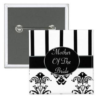Rayas negras y blancas, Barroco del monograma Pin Cuadrado