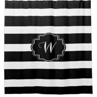 Rayas negras y blancas clásicas cortina de baño