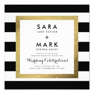 """Rayas negras y blancas con el boda de la hoja de invitación 5.25"""" x 5.25"""""""