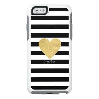 Rayas negras y blancas con el corazón de la hoja funda otterbox para iPhone 6/6s