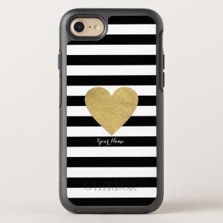 Rayas negras y blancas con el corazón de la hoja funda OtterBox symmetry para iPhone 7