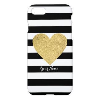 Rayas negras y blancas con el corazón de la hoja funda para iPhone 7