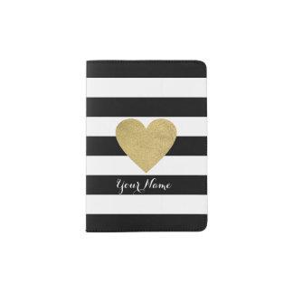 Rayas negras y blancas con el corazón de la hoja porta pasaporte
