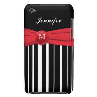 Rayas negras y blancas con la caja roja del tacto  barely there iPod carcasas