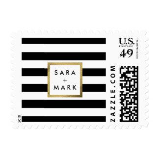 Rayas negras y blancas con personalizado de la sello postal