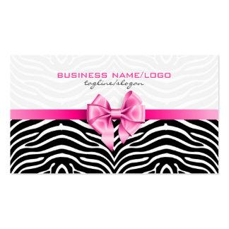 Rayas negras y blancas de la cebra con el arco ros tarjeta de visita
