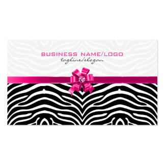 Rayas negras y blancas de la cebra con el arco ros tarjetas de visita