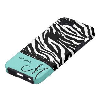 Rayas negras y blancas de la cebra con el azul del iPhone 5 Case-Mate carcasas