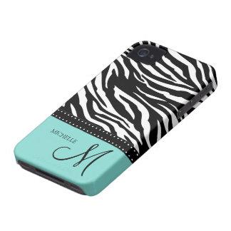 Rayas negras y blancas de la cebra con el azul del iPhone 4 carcasa