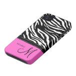 Rayas negras y blancas de la cebra con rosas fuert Case-Mate iPhone 4 fundas