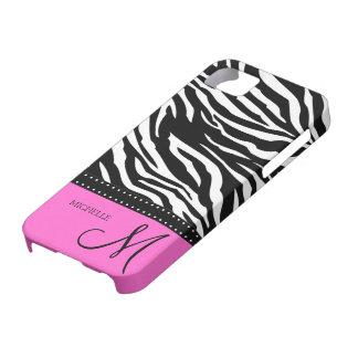 Rayas negras y blancas de la cebra con rosas fuert iPhone 5 Case-Mate carcasas