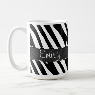 Rayas negras y blancas de la cebra taza clásica
