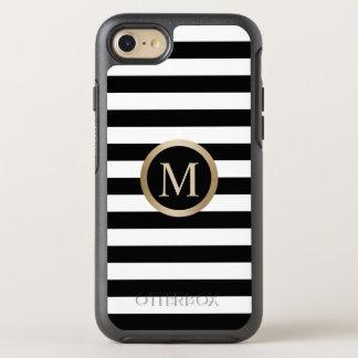Rayas negras y blancas del oro de la inicial funda OtterBox symmetry para iPhone 7
