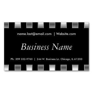 Rayas negras y falsas elegantes de la plata tarjetas de visita magnéticas (paquete de 25)