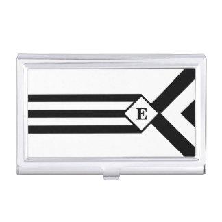 Rayas negras y galones con el monograma en blanco cajas de tarjetas de negocios
