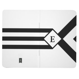 Rayas negras y galones con el monograma en blanco cuaderno