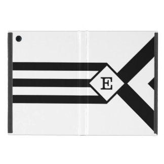Rayas negras y galones con el monograma en blanco iPad mini carcasas