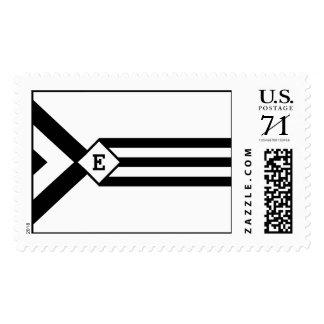 Rayas negras y galones con el monograma en blanco sellos