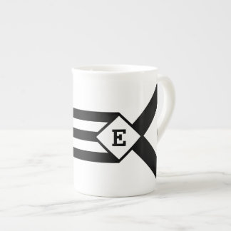 Rayas negras y galones con el monograma en blanco taza de porcelana