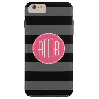 Rayas negras y grises del rugbi con el monograma funda para iPhone 6 plus tough