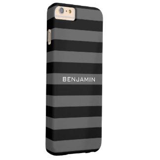 Rayas negras y grises del rugbi con nombre de funda de iPhone 6 plus barely there