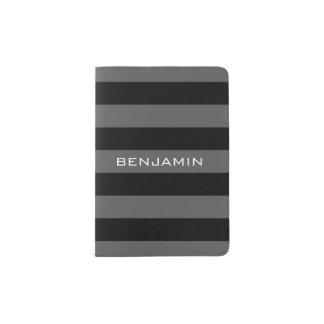 Rayas negras y grises del rugbi con nombre de porta pasaporte
