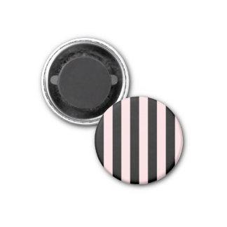 Rayas - negras y pálidas - rosa iman de nevera