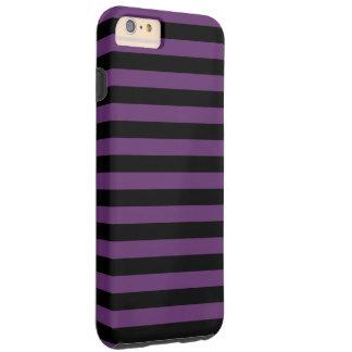 Rayas negras y púrpuras del gótico funda resistente iPhone 6 plus