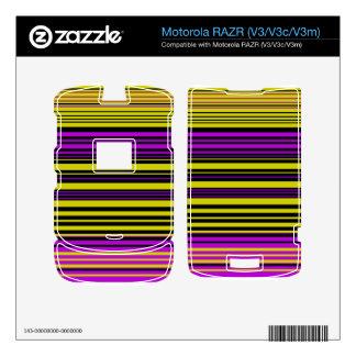 Rayas negras y púrpuras del oro contemporáneo motorola RAZR skin