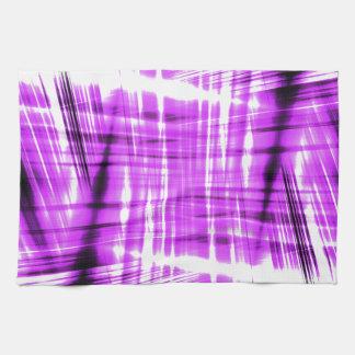 Rayas negras y púrpuras dinámicas toalla de cocina