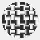 Rayas negras y tejas etiquetas redondas
