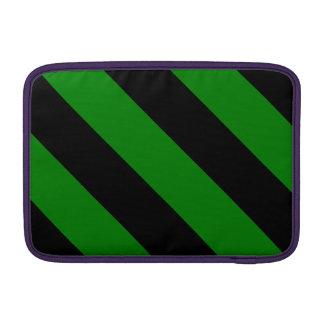 Rayas negras y verdes del peluquero funda para macbook air
