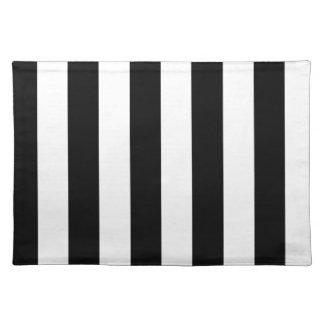 Rayas - negro y crema manteles individuales