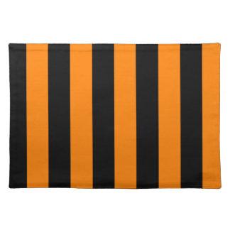 Rayas - negro y naranja manteles individuales