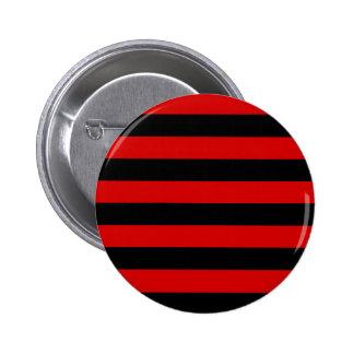 Rayas - negro y Rosso Corsa Pin Redondo De 2 Pulgadas
