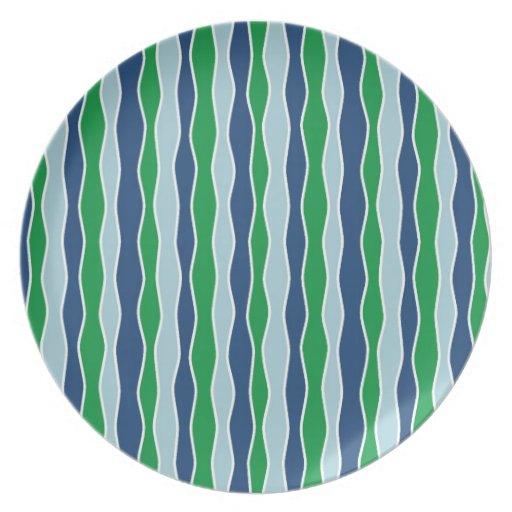 Rayas onduladas azules y verdes platos para fiestas