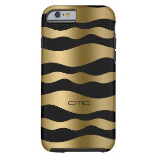 Rayas onduladas del oro de Monogramed sobre fondo Funda Para iPhone 6 Tough