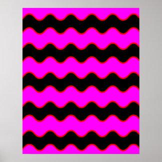Rayas onduladas del zigzag de Chevron Póster