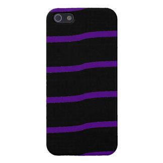 Rayas onduladas negras y púrpuras iPhone 5 cárcasas